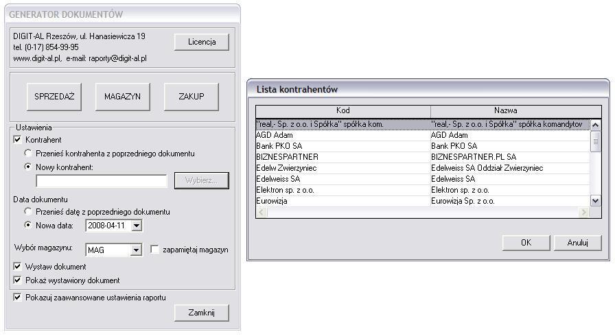 Generator dokumentów - okna dodatku